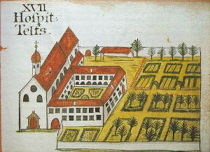 Historische Zeichnung des Klosters